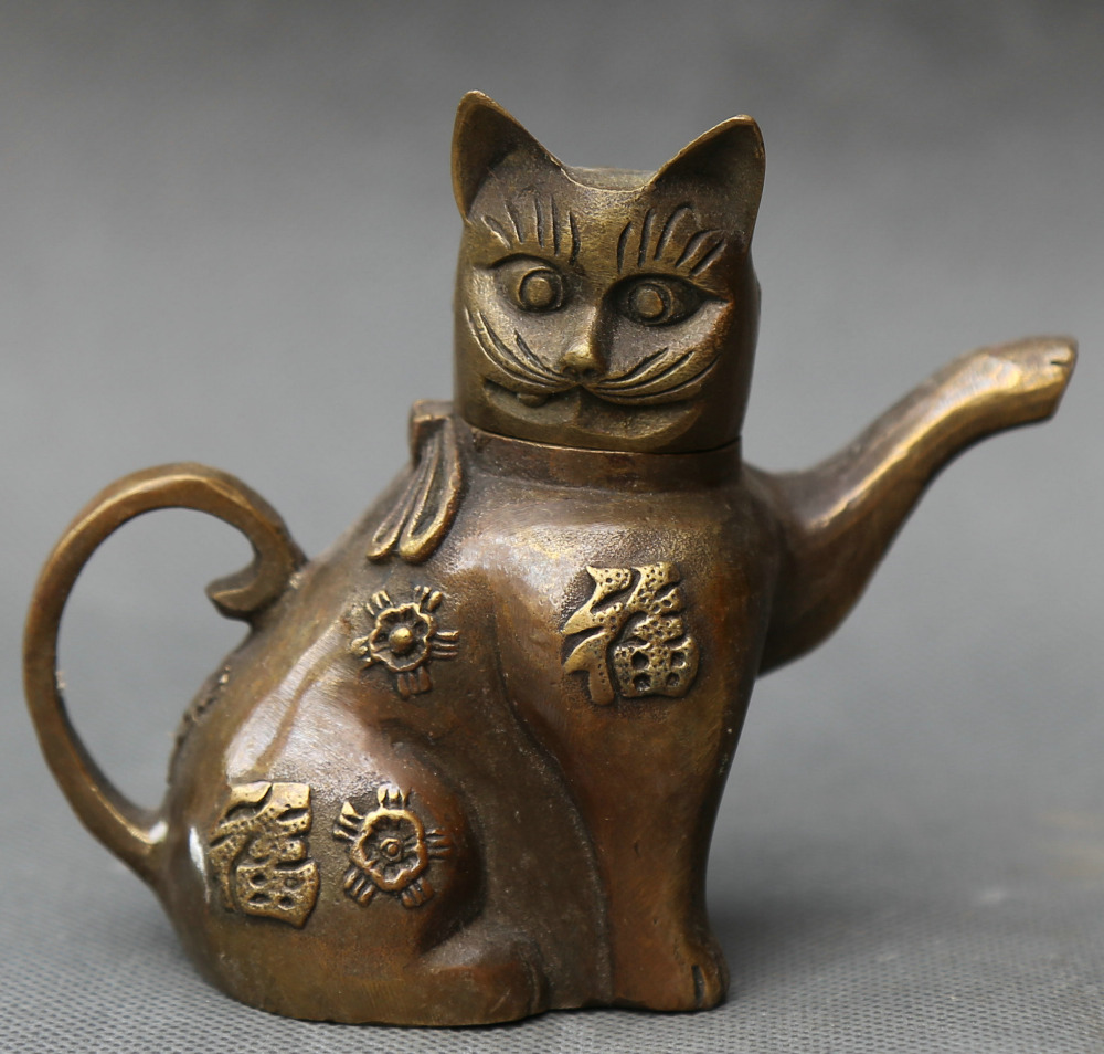 Details about Asian Superb Collectible Old Handmade Casting Brass Cat Statues Teapot