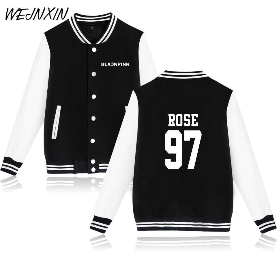 WEJNXIN Kpop Baseball Jacket Women/Men Blackpink Album Fans Support Hoodies Member Name Print Sweatshirt Moletom Female