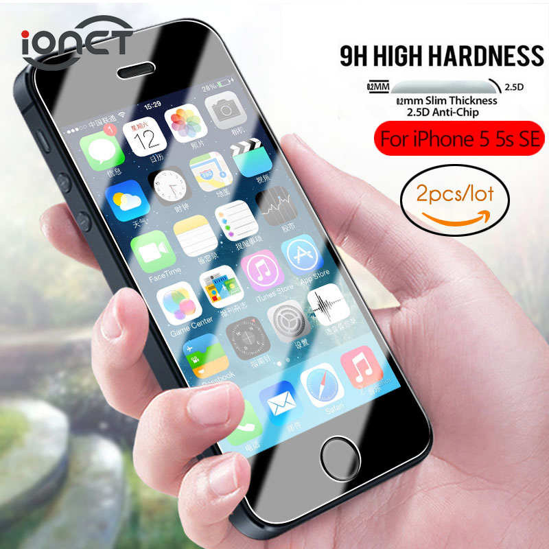 IONCT (2 Pcs/lot) 2.5D Protective Glass For IPhone 5s Glass IPhone 5 SE Screen Protector On Tempered Glass Film 0.26mm