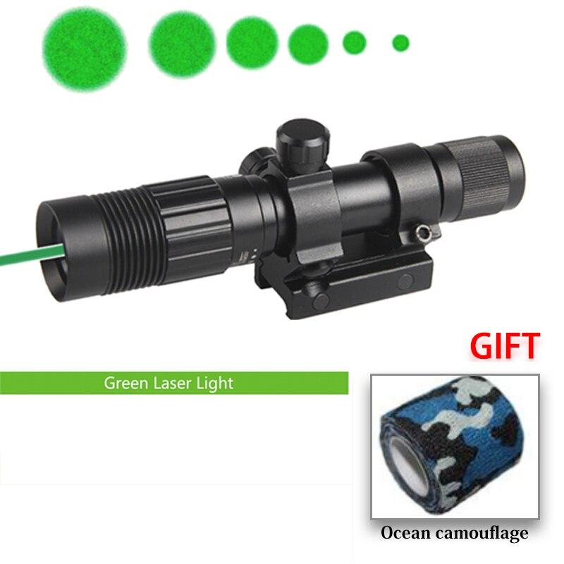 밤 비전 광학 전술 그린 레이저 손전등 조명 사냥 총 피카 티니 마운트 소총 레이저 시력 HT8-0006G