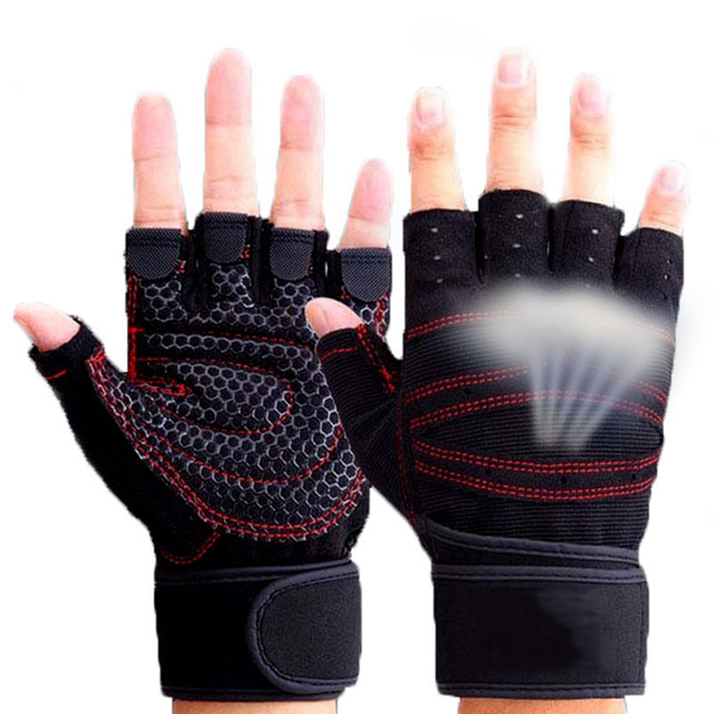 TININE 2019 Fitness Gym Outdoor Sports Hot Motorcycle Gloves Men Women Guantes Half Finger RED Black Breathable Tactical Gloves