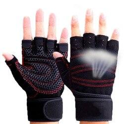 Перчатки без пальцев для фитнеса, для занятий спортом на открытом воздухе, мотоциклетные перчатки для мужчин и женщин, красные и черные дыша...