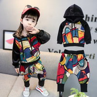 Boys' Velvet set 2018 autumn winter new style sportswear girl graffiti thickening sweater two pieces of suit.