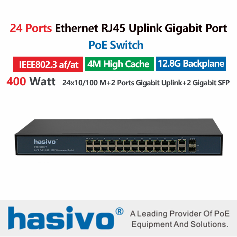 24 Port 10 100M Ethernet PoE Switch fro Wireless AP IP Camera with 24 port 100M PoE 2 Port 1000M Rj45 2 Port 1000M SFP Fiber in Network Switches from Computer Office