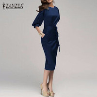 M 6XL New 2015 Women Spring Autumn Work Office Dress Half Sleeve O Neck Elegant Ladies