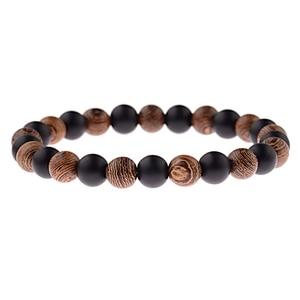 Image 4 - DOUVEI Bracelets élastiques de Yoga, pour hommes et femmes, perles en bois et en pierre noire, élastique, pour méditation, Yinyang, bijoux de prière, ABJ036, 2018