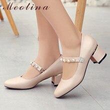 e41a144e Meotina tacones altos Mary Janes zapatos de tacón cuadrado de diamantes de  imitación para mujer zapatos de novia de punta redond.
