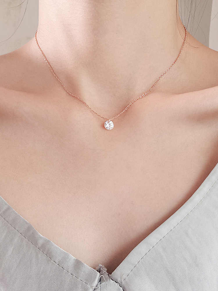 cshou86  925 sterling silver geometric flash necklace simple fashion wild student clavicle chain necklace Korean style