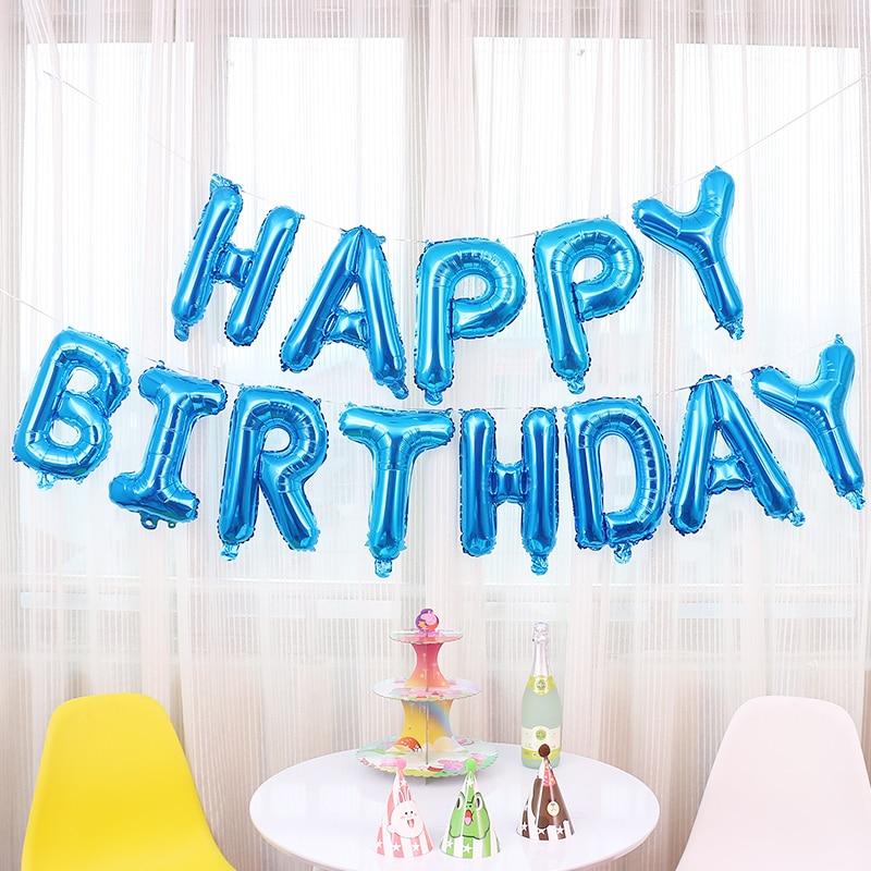 13pcs Lot 16 Inches Pink Blue Letters Foil Balloons Happy Birthday Supplies Decorations Baby Decoracion De Cumpleanos