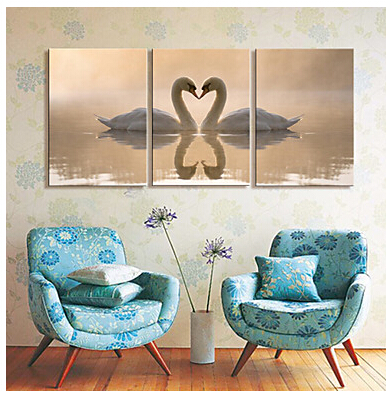 3 pc Large Canvas Art Print Animal Swan Lovers Set of 3 Canvas Wall ...