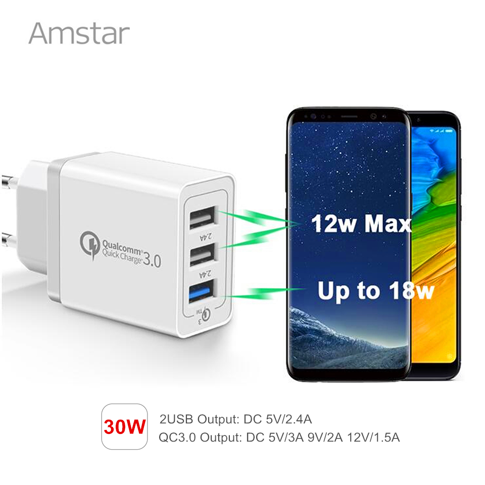 Amstar 3Ports 30W Quick Charge 3.0 USB Charger for iPhone X 8 iPad Samsung S9 S8 Xiaomi Huawei QC3.0 Fast Charger Wall Adapter
