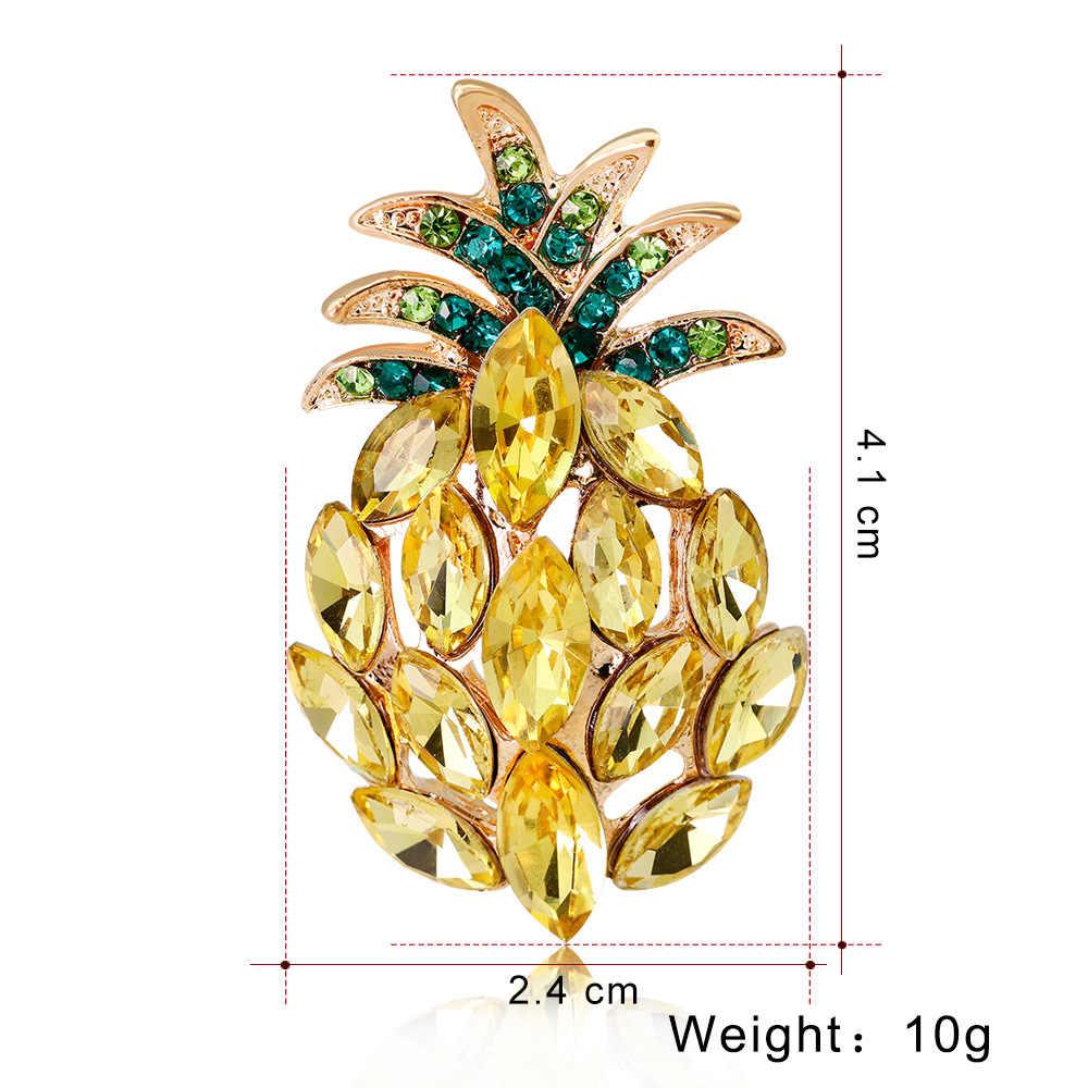Giovane tulip 2018 nuovo carino semplice ananas pin spilla in cristallo monili di modo per le donne dei jeans vestito di accessori di alta qualità
