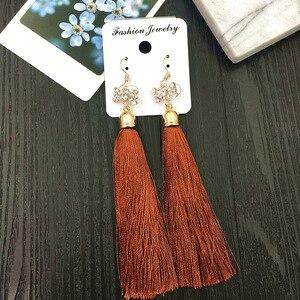 Image 5 - MYDANER pendientes colgantes con borlas largas para mujer, joyas pendientes de gancho con cristales bohemios, 20 par/lote, venta al por mayor