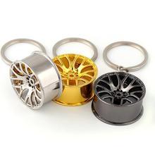 1pcs Universal Creative Mini Car Wheel Hub Auto Logos Key Chain Repair Parts Tire