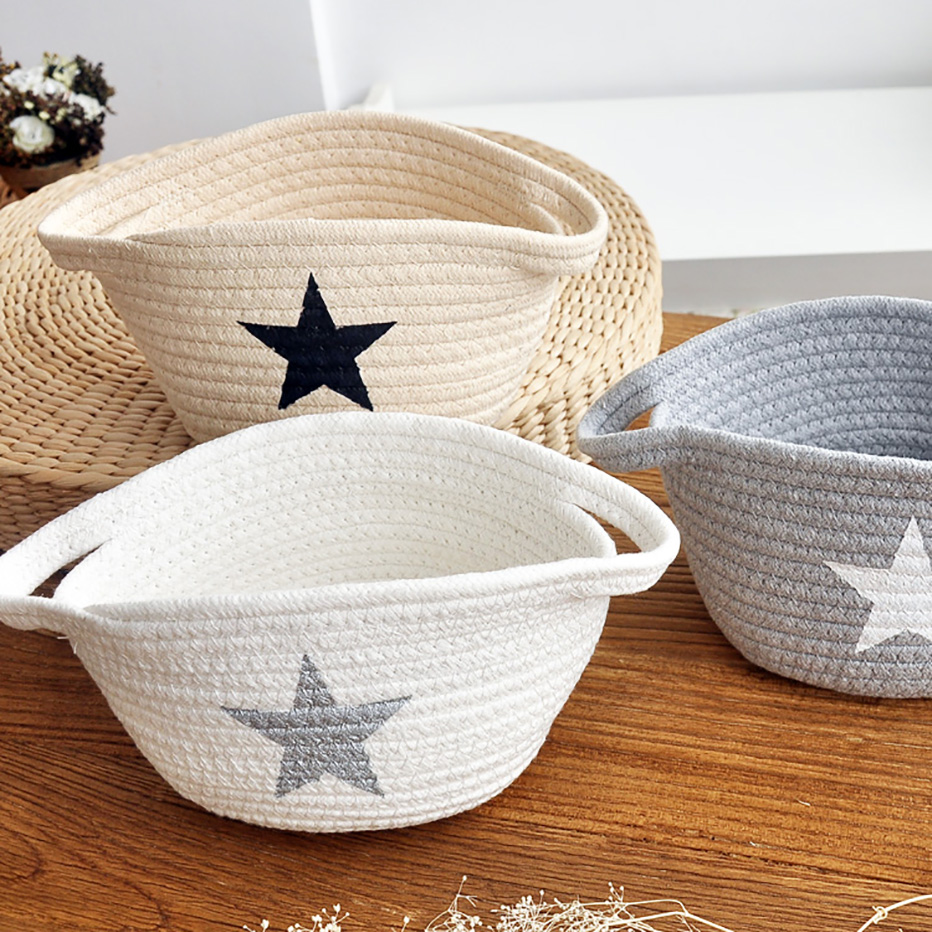 Cotton Rope Soft Storage Basket With Handles Kitchen Magical