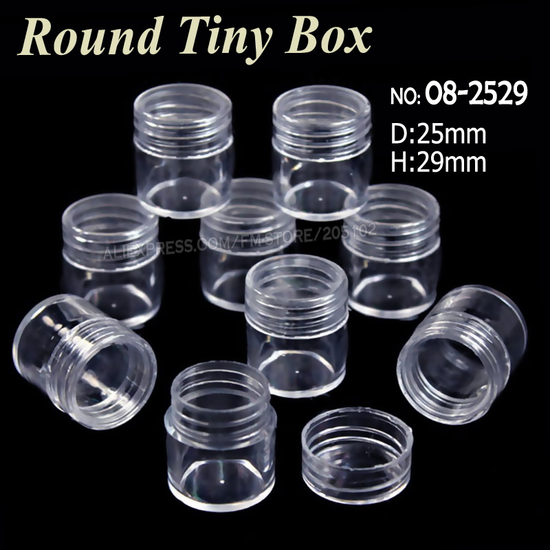 25x29MM Acrylic Bottles With Screw Cap Round Boxes Storage