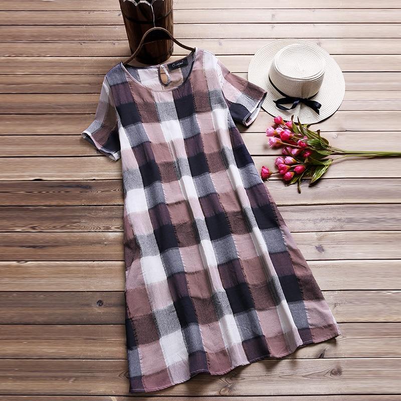 5fb4122ec56 Vintage Summer Dress Women Plaid Long Top Female Elegant Short Sleeve Shirt  Dresses Beach Sarafans Vestido Robe Plus Size 5XL