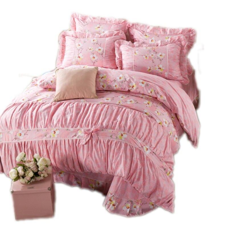 Princess Style Flower Print Bedding Set 4pcs Cotton
