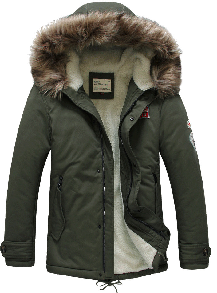 Winter Casual Mens fur collar coat army green outwear coats ...