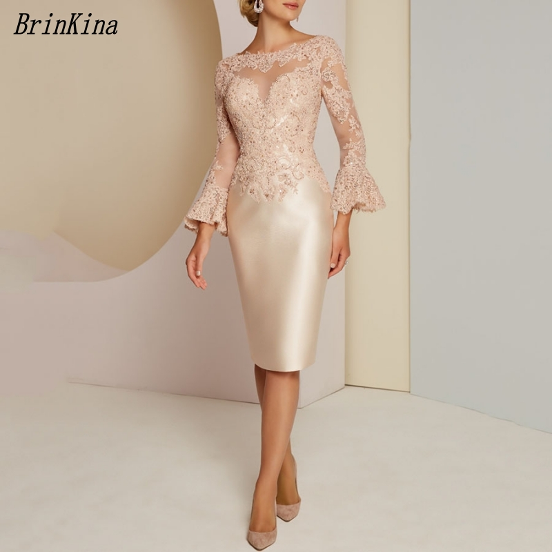 BrinKina Wedding Party Dress Knee Length Long Sleeves