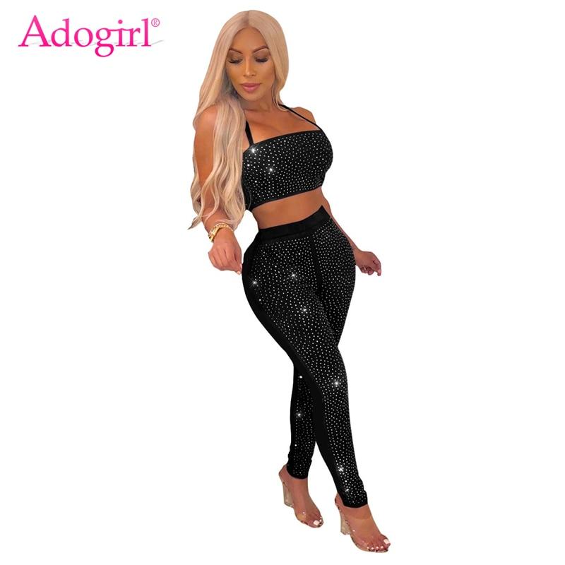 Adogirl Sparkling Diamonds Women Sexy Two Piece Set Halter Strapless Crop  Top + Skinny Pants Night 8b3b0975e77e