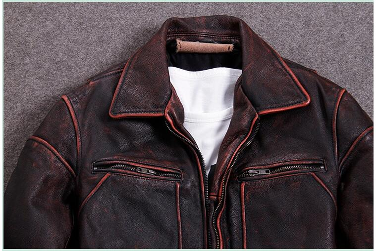 HTB1QHRhXzzuK1RjSspeq6ziHVXaz 2019 Vintage Red Brown Men American Casual Style Leather Jacket Plus Size 5XL Genuine Cowhide Autumn Leather Coat FREE SHIPPING