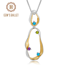 GEMS BALLET Natural Topaz Peridot Amethyst Statement Pendant 925 Sterling Silver Handmade Twist Pendant Necklace for Women