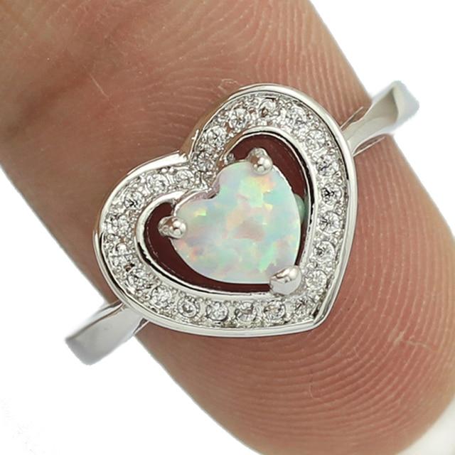 707b2af71d HAIMIS Gorgeous White Fire Opal Heart Shaped Women Fashion Jewelry Opal  Ring Size 6  7  8  9 62W