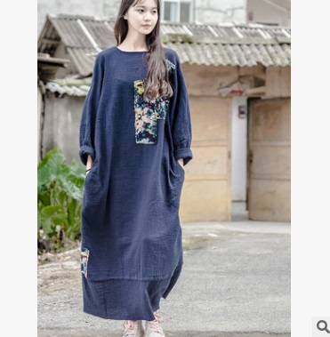 Advocate natural In the autumn  of 2016 new products listed, original design brand quality loose big yards  cotton linen  women's dress