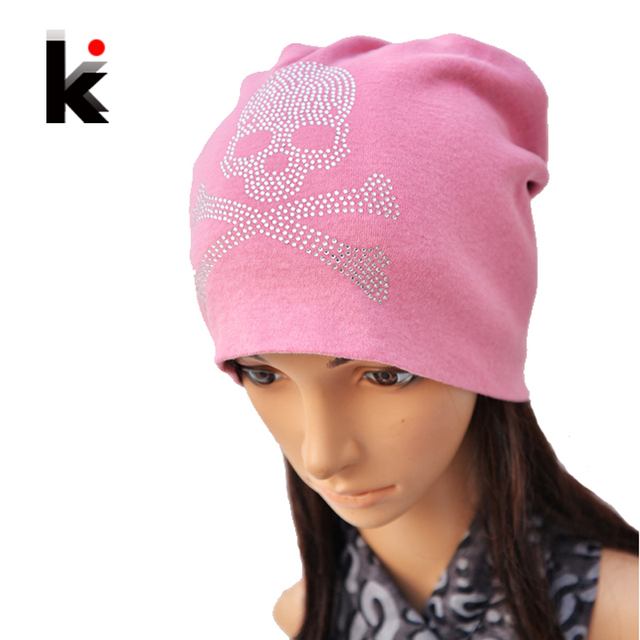 f36b297c2e69b Free shipping Autumn and Winter Diamond BeanieTurban Cap skullies hip-hop  Skull Hat Stocking Hats for women men bonnet 4 colors