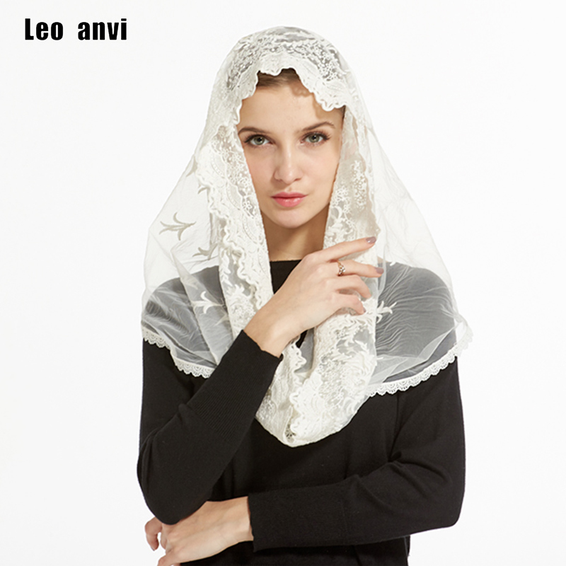 2018 Lady women Ivory Lace Infinity Mantilla Chapel Veil Traditional catholic chapel veil hijab scarf bandana face mask scarf