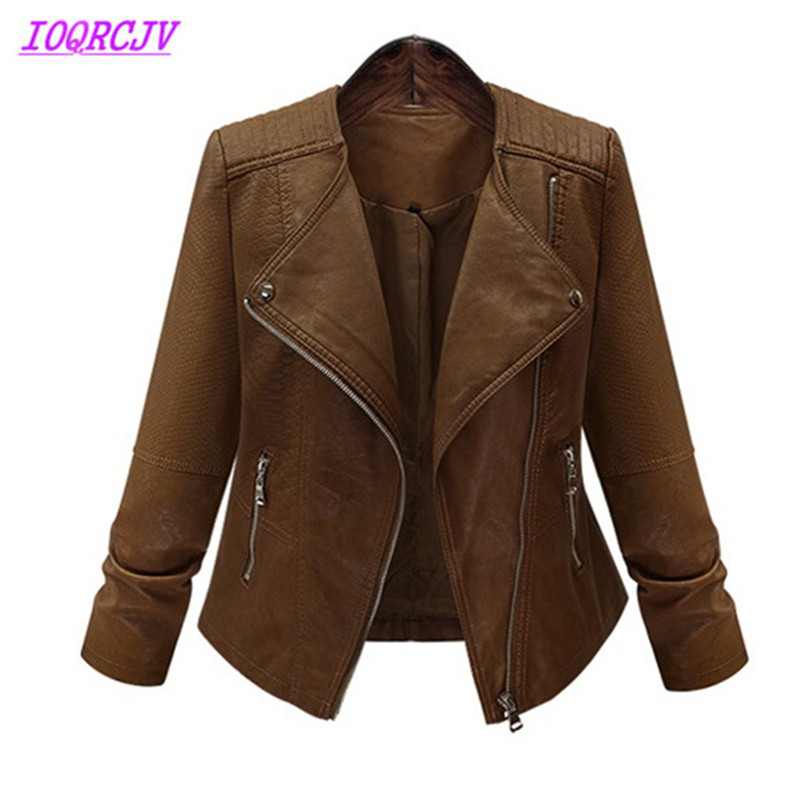 2018 Plus size 5XL Spring Autumn Women Leather Jackets Short Coats Fashion Brown Loose Large size Leather Outerwear IOQRCJV Q033