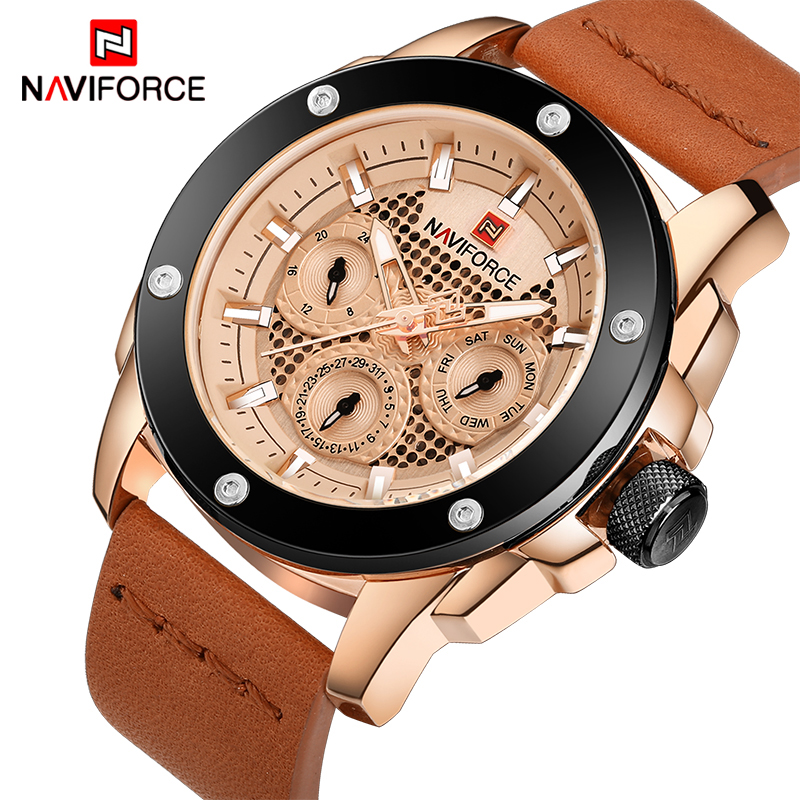 NAVIFORCE New Luxury Brand Waterproof Quartz Watch Men Military Leather Sports Watches Man 24 Hour Date Clock Relogio Masculino