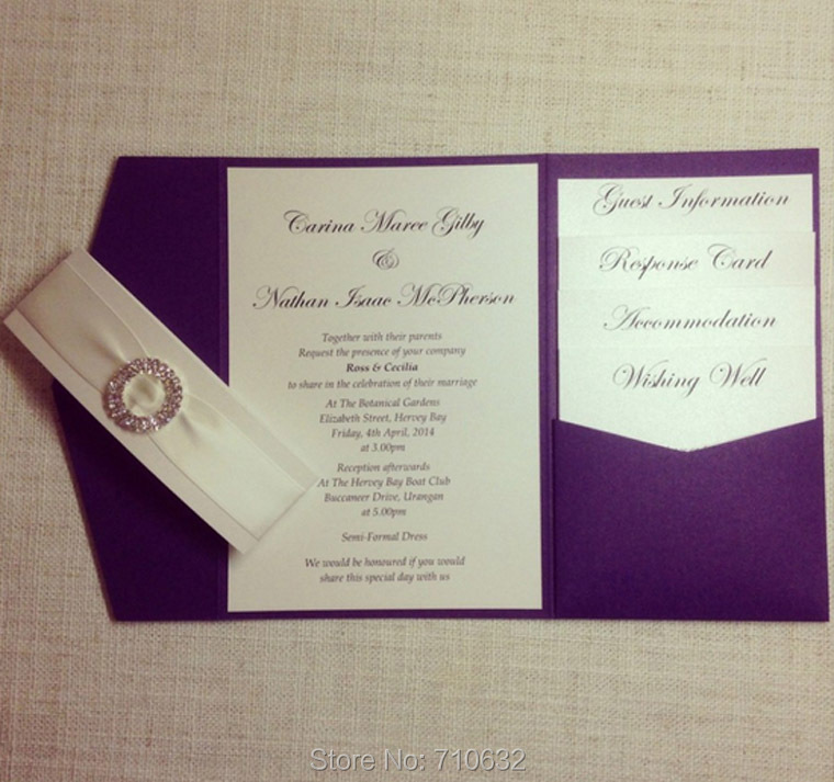 Purple Color Pocketfold Wedding Invitation with Rhinestone Culster ...