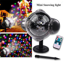 Mini Laser Projector Lamp Christmas Snowflake Light Snowfall Projector IP65 Moving Snow Outdoor Garden  for New Year Party Decor недорого