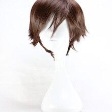 QQXCAIW мужской короткий костюм косплей Мальчики темно коричневый 32 см термостойкие синтетические волосы парики