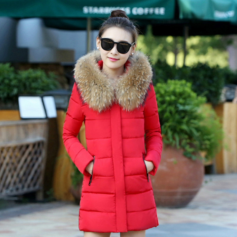 2017 New Winter Parkas Hooded Fur Collar Jacket Warm Long Slim Thick Cotton Padded Coat Female Outwears 2017 winter new coat womens long slim hooded large fur collar thick cotton warm jacket for female zipper pattern epaulet padded