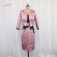 우아한 핑크 블랙 레이스 짧은 신부 드레스 재킷 바지 정장 새틴 웨딩 어머니 드레스 신랑 어머니 드레