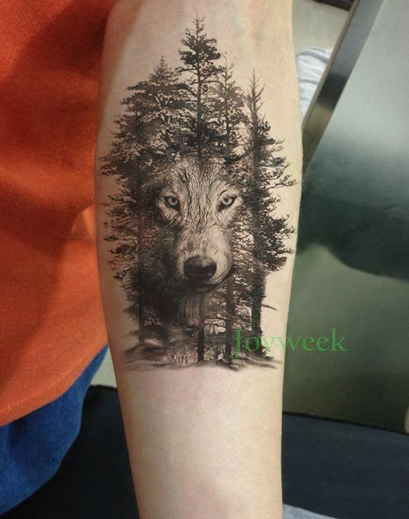 Водонепроницаемый Временные татуировки Стикеры ворона Тигр Ганеша волк лес Tatto Стикеры s flash tatoo поддельные татуировки для мужчин и женщин 7