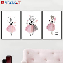 Watercolor Pink Fairy Wall Art Canvas Painting Nordic Posters And Prints Pop Art Wall Pictures For Living Room Girl Room Decor стоимость