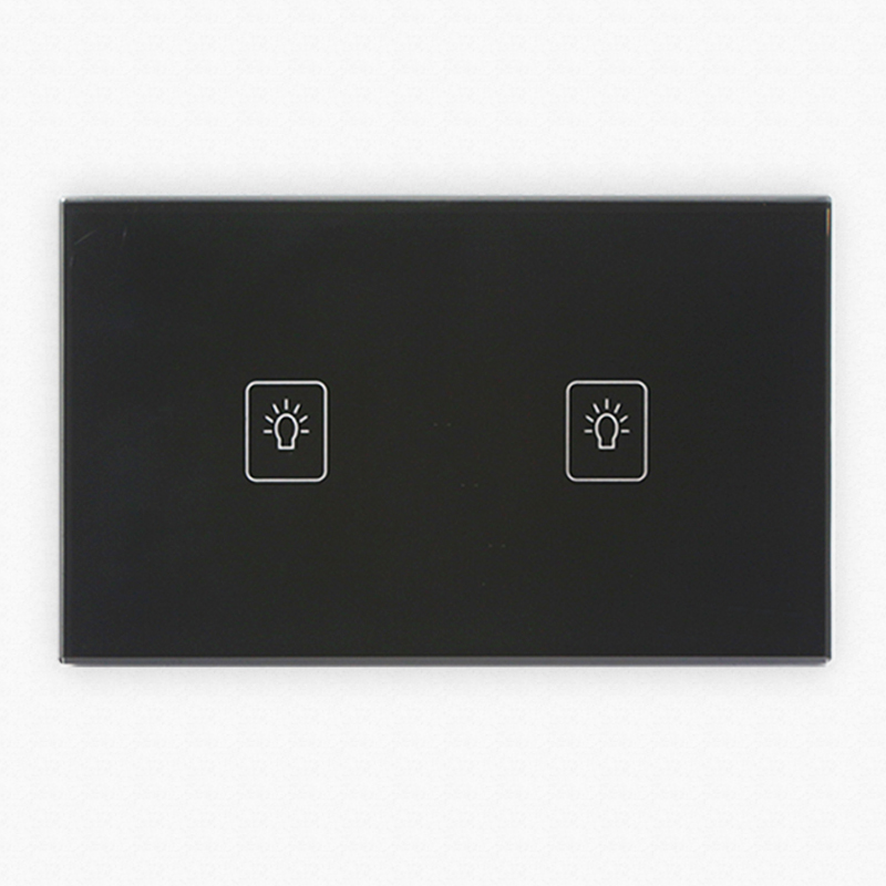 Crystal Glass 2 Gang 1 Way Panel Touch Control House Light Wall Switch US Type smart home uk standard crystal glass panel wireless remote control 1 gang 1 way wall touch switch screen light switch ac 220v