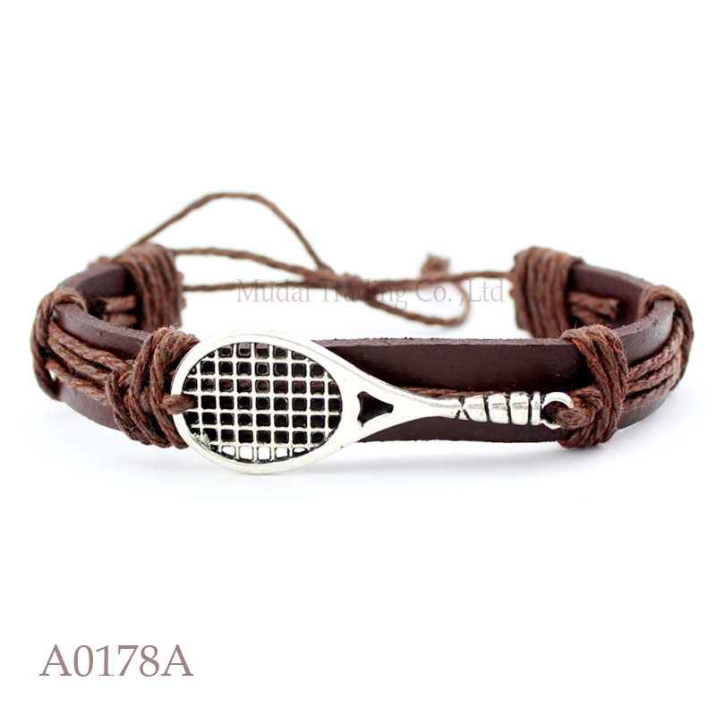 (10PCS/lot) ANTIQUE SILVER Tennis Racket Racquet Adjustable Leather Cuff Bracelet for Men & Women Friendship Casual Jewelry