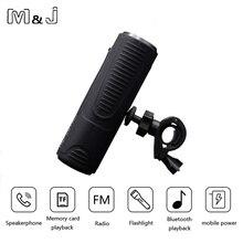 M & J P3 Bluetooth Inalámbrico Altavoces de Graves de Altavoz Subwoofer Portable Bicicleta Al Aire Libre 2400 mAh Banco de Potencia + luz LED + Soporte Para bicicleta