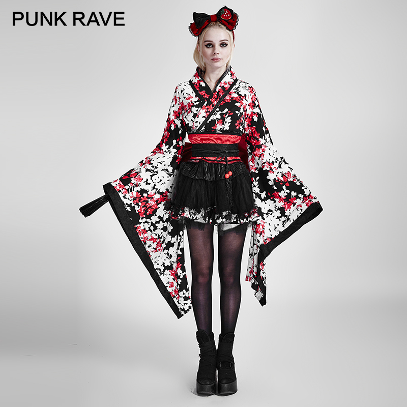 PUNK RAVE Lolita Three piece Japan Kimono Rabbite Princess Dress Tail Big Ribbon Belt Harajuku Cosplay Party Sweet Maid Clothing