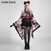 PUNK RAVE Lolita Three piece Japan Kimono Rabbite Princess Dress Tail Big Ribbon Belt Harajuku Cosplay Party Sweet Maid Clothing