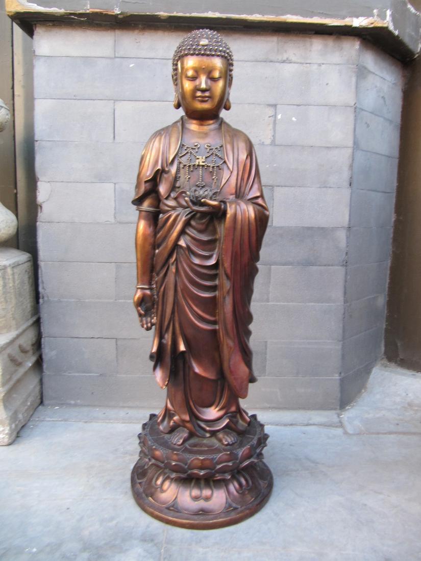 28'' Chinese buddhism pure red bronze sculpture Amitabha sakyamuni buddha