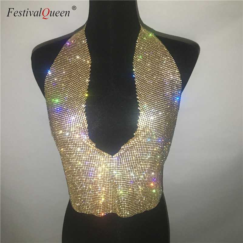 ... FestivalQueen lady rhinestone party backless tops 2018 sexy women  summer glitter crystal diamonds crop top beach ... 0ab45f70492c