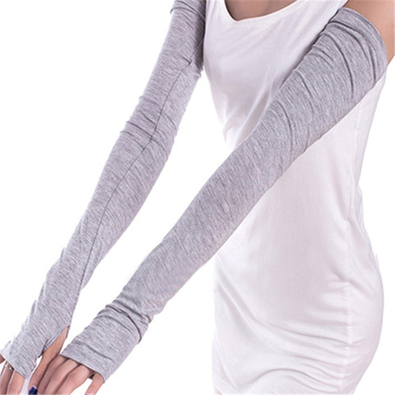 New Womens Long Fingerless Gloves Cotton Solid Girls Warm Arm Warmer Spring Autumn 6 Colors Female Arm Warmer Drop Shipping