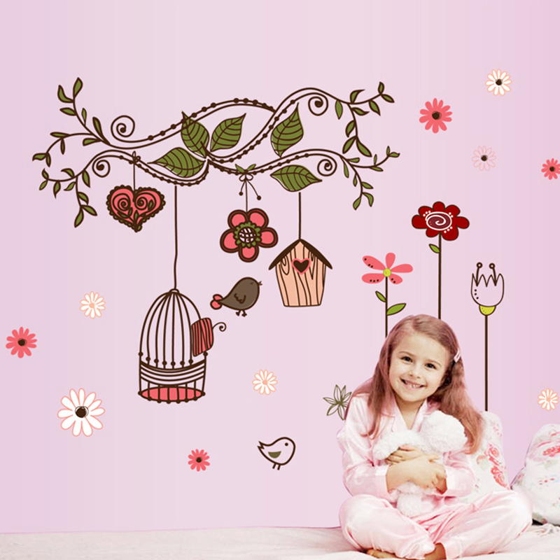 flowers vine birdcage wall stickers for kids room home wall art decor adesivos de parede diy decals girls bedroom decoration