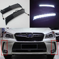 Newest!!! DRL Daytime Running Lights for Subaru Forester 2013 2014 Dimming style Relay 9 Chips Car Led light Quality Asssured